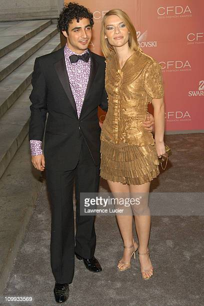 Zac Posen and Claire Danes during The 2003 CFDA Fashion Awards Arrivals at New York Public Library in New York City New York United States