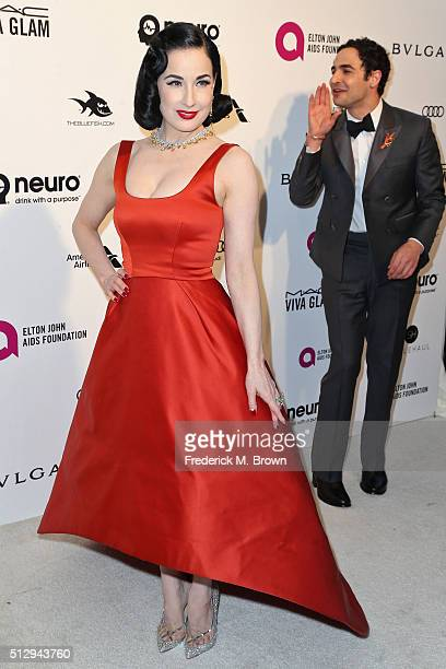 Zac Posen and Dita Von Teese attend the 24th Annual Elton John AIDS Foundation's Oscar Viewing Party on February 28 2016 in West Hollywood California