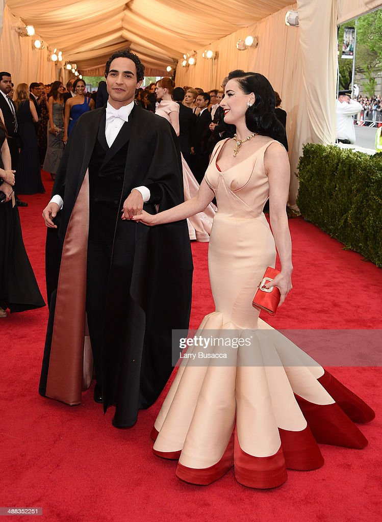 Zac Posen and Dita Von Teese attend the 'Charles James Beyond Fashion' Costume Institute Gala at the Metropolitan Museum of Art on May 5 2014 in New...