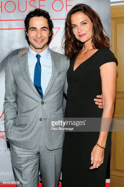 Zac Posen and Katie Holmes attend Brooks Brothers with The Cinema Society host the premiere of 'House of Z' at Crosby Street Hotel on September 7...