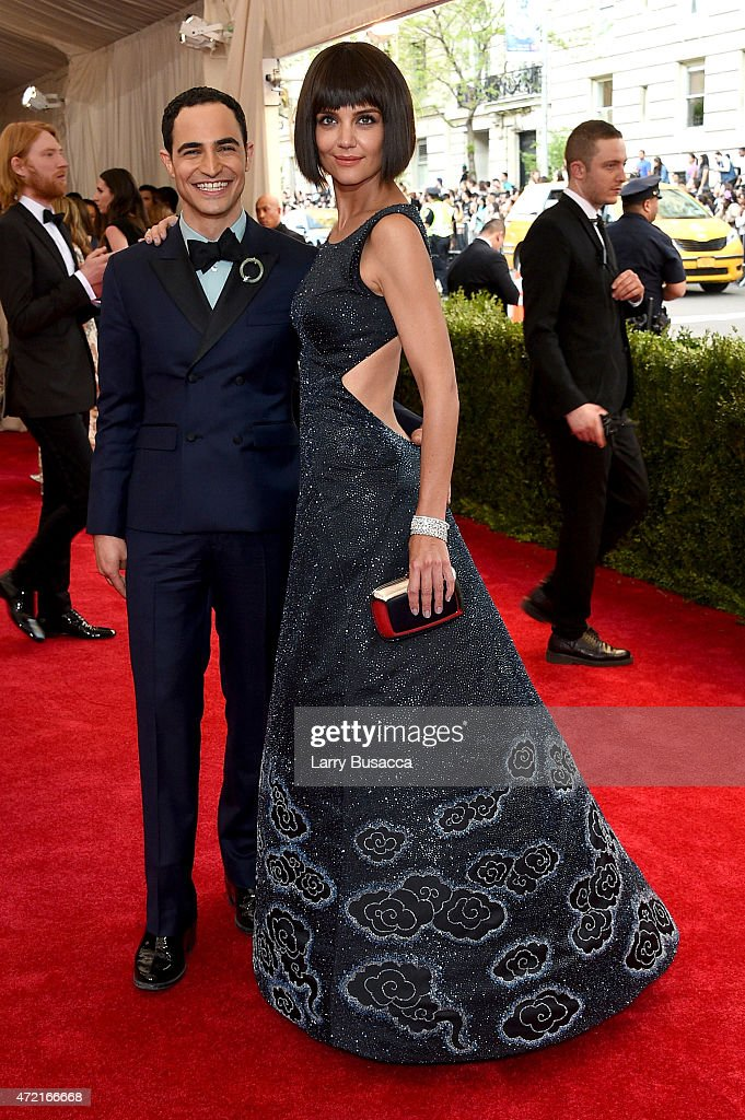 Zac Posen and Katie Holmes attend the 'China Through The Looking Glass' Costume Institute Benefit Gala at the Metropolitan Museum of Art on May 4...