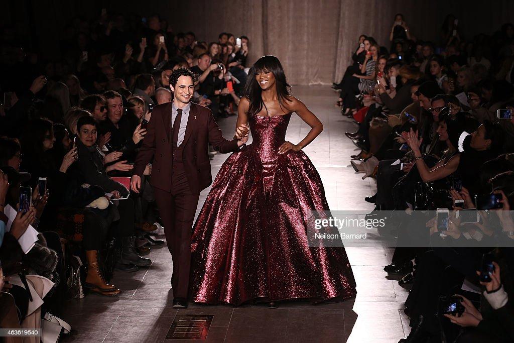 Zac Posen and Noami Campbell walk the runway at the Zac Posen fashion show during MercedesBenz Fashion Week Fall 2015 at Vanderbilt Hall at Grand...