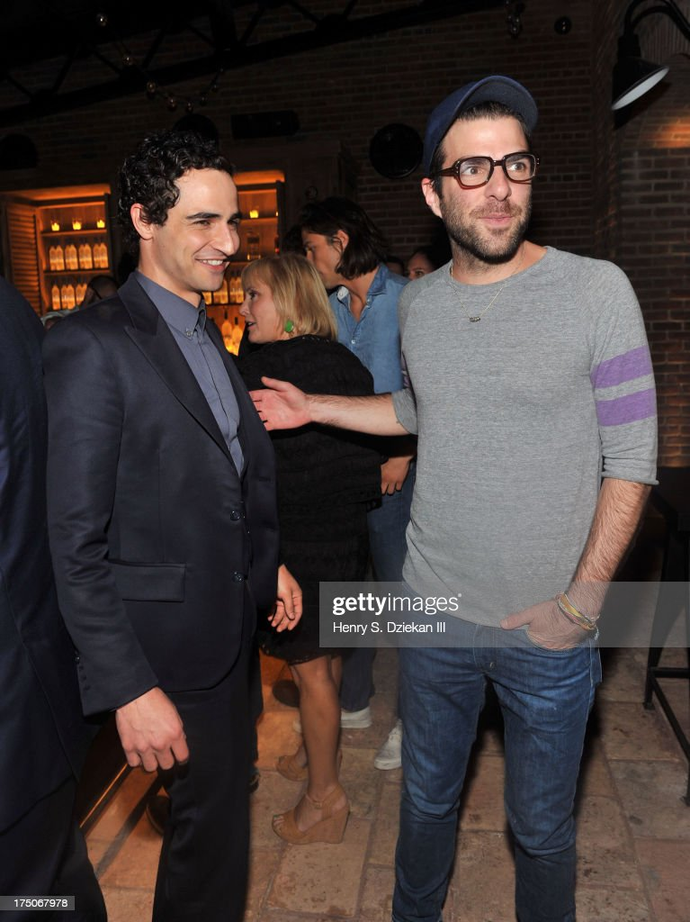 Zac Posen and Zachary Quinto attend The Cinema Society and MCM with Grey Goose screening of Radius TWC's 'Lovelace' after party at Refinery Rooftop on July 30, 2013 in New York City.
