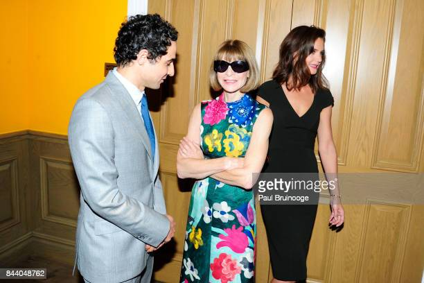 Zac Posen Anna Wintour and Katie Holmes attend Brooks Brothers with The Cinema Society host the premiere of 'House of Z' at Crosby Street Hotel on...