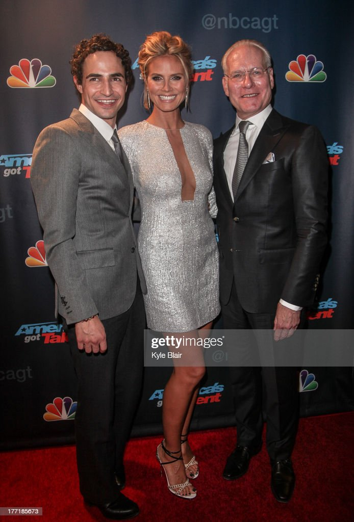 Zac Posen, <a gi-track='captionPersonalityLinkClicked' href=/galleries/search?phrase=Heidi+Klum&family=editorial&specificpeople=178954 ng-click='$event.stopPropagation()'>Heidi Klum</a> and <a gi-track='captionPersonalityLinkClicked' href=/galleries/search?phrase=Tim+Gunn&family=editorial&specificpeople=696109 ng-click='$event.stopPropagation()'>Tim Gunn</a> attend the 'America's Got Talent' post show red carpet at Radio City Music Hall on August 21, 2013 in New York City.