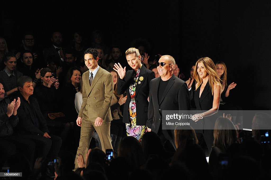 Zac Posen, <a gi-track='captionPersonalityLinkClicked' href=/galleries/search?phrase=Heidi+Klum&family=editorial&specificpeople=178954 ng-click='$event.stopPropagation()'>Heidi Klum</a>, designer Michael Kors and <a gi-track='captionPersonalityLinkClicked' href=/galleries/search?phrase=Nina+Garcia&family=editorial&specificpeople=592222 ng-click='$event.stopPropagation()'>Nina Garcia</a> walk the runway at the Project Runway Fall 2013 fashion show during Mercedes-Benz Fashion Week at The Theatre at Lincoln Center on February 8, 2013 in New York City.