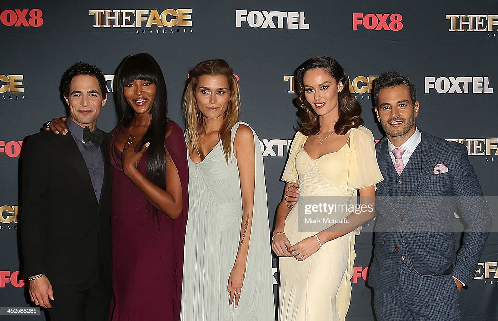 Zac Posen, Naomi Campbell, Cheyenne Tozzi; Nicole Trunfio and Georges Antoni pose during a photo call for Australian TV show, 'The Face of Australia' at Carriage Works on November 30, 2013 in Sydney, Australia.
