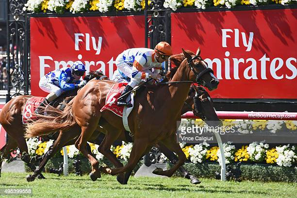 Zac Purton rides Concealer to win race 1 the Emirates Airlines Plate on Melbourne Cup Day at Flemington Racecourse on November 3 2015 in Melbourne...