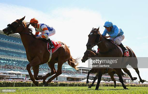 Zac Purton rides Concealer to win race one the Emirates Airline Plate on Melbourne Cup Day at Flemington Racecourse on November 3 2015 in Melbourne...