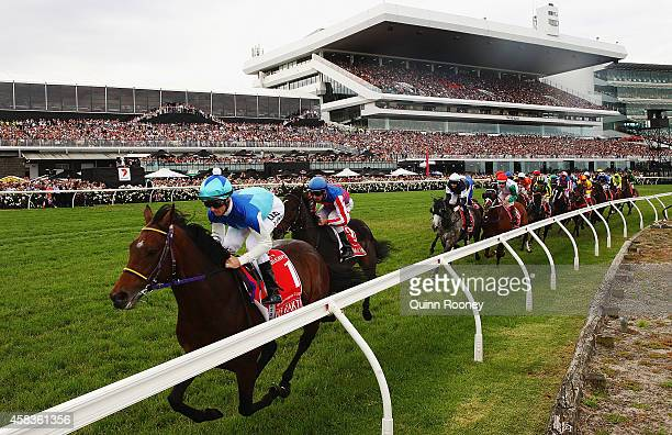 Zac Purton riding Admire Rakti goes around the bend on the first lap of the Emirates Melbourne Cup on Melbourne Cup Day at Flemington Racecourse on...