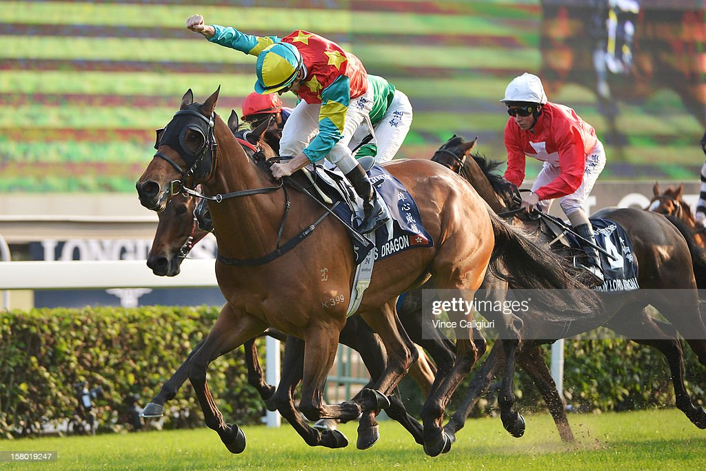 Zac Purton riding Ambitious Dragon winning The Longines Hong Kong Mile during the Hong Kong International Races at Sha Tin racecourse on December 9, 2012 in Hong Kong.