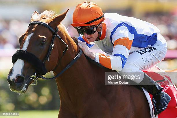 Zac Purton riding Concealer wins race 1 the Emirates Airline plate on Melbourne Cup Day at Flemington Racecourse on November 3 2015 in Melbourne...