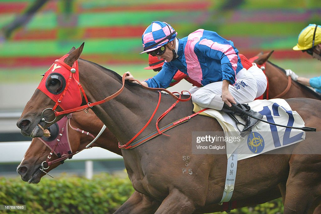 Zac Purton riding Sweet Corner wins the Audemars Piguet Lady Royal Handicap during the Audemars Piguet Queen Elizabeth II race meeting at Sha Tin racecourse on April 28, 2013 in Hong Kong, Hong Kong.
