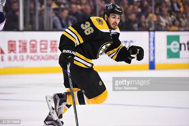 Zac Rinadlo of the Boston Bruins skates against the Columbus Blue Jackets at the TD Garden on February 22 2016 in Boston Massachusetts
