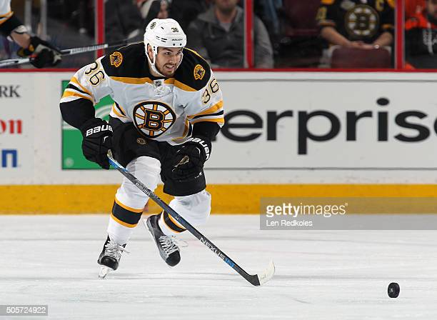 Zac Rinaldo of the Boston Bruins skates after the loose puck against the Philadelphia Flyers on January 13 2016 at the Wells Fargo Center in...
