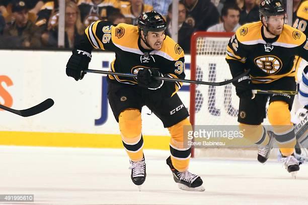Zac Rinaldo of the Boston Bruins skates against the Winnipeg Jets at the TD Garden on October 8 2015 in Boston Massachusetts
