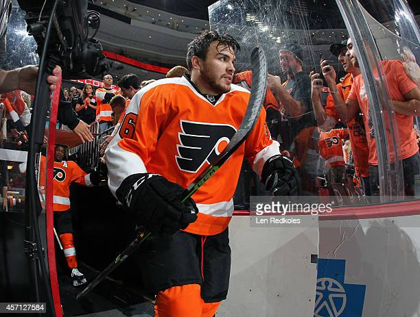 Zac Rinaldo of the Philadelphia Flyers enters the ice surface for pregame warmup prior to his game against the New Jersey Devils on October 9 2014 at...