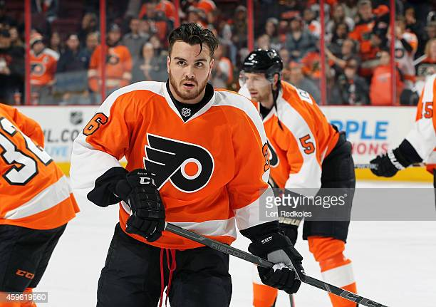 Zac Rinaldo of the Philadelphia Flyers looks on during warmups prior to his game against the Columbus Blue Jackets on November 22 2014 at the Wells...