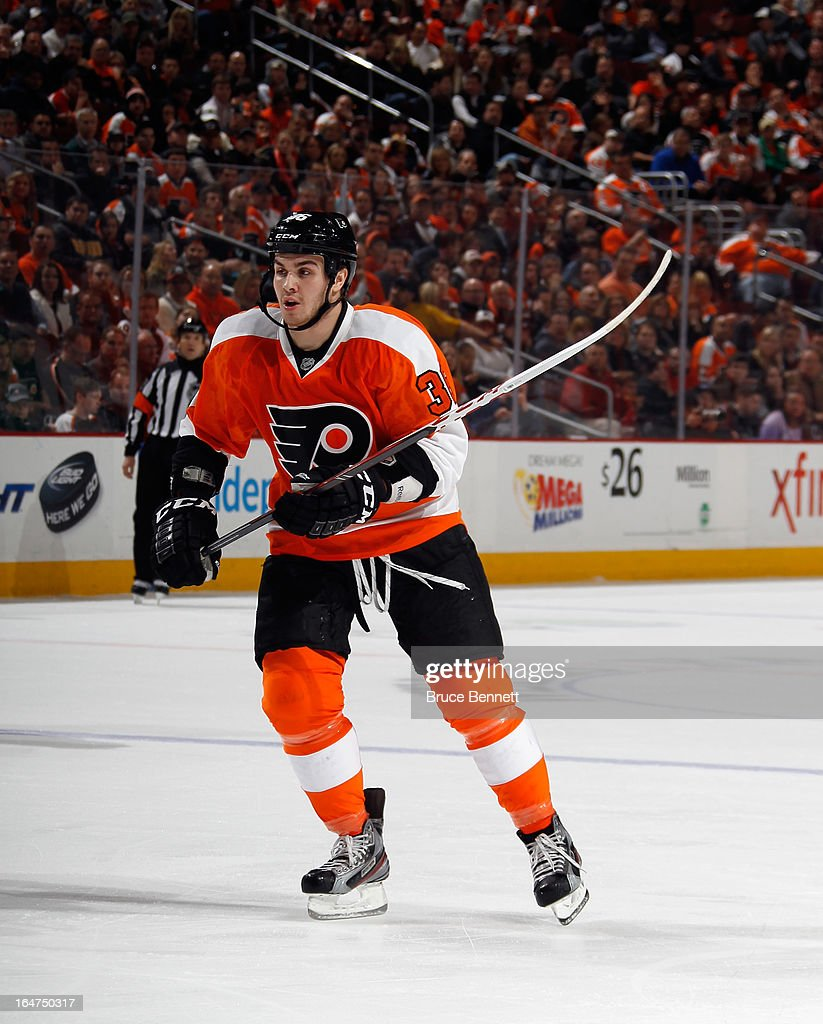 <a gi-track='captionPersonalityLinkClicked' href=/galleries/search?phrase=Zac+Rinaldo&family=editorial&specificpeople=4129574 ng-click='$event.stopPropagation()'>Zac Rinaldo</a> #36 of the Philadelphia Flyers skates against the New York Rangers at the Wells Fargo Center on March 26, 2013 in Philadelphia, Pennsylvania.