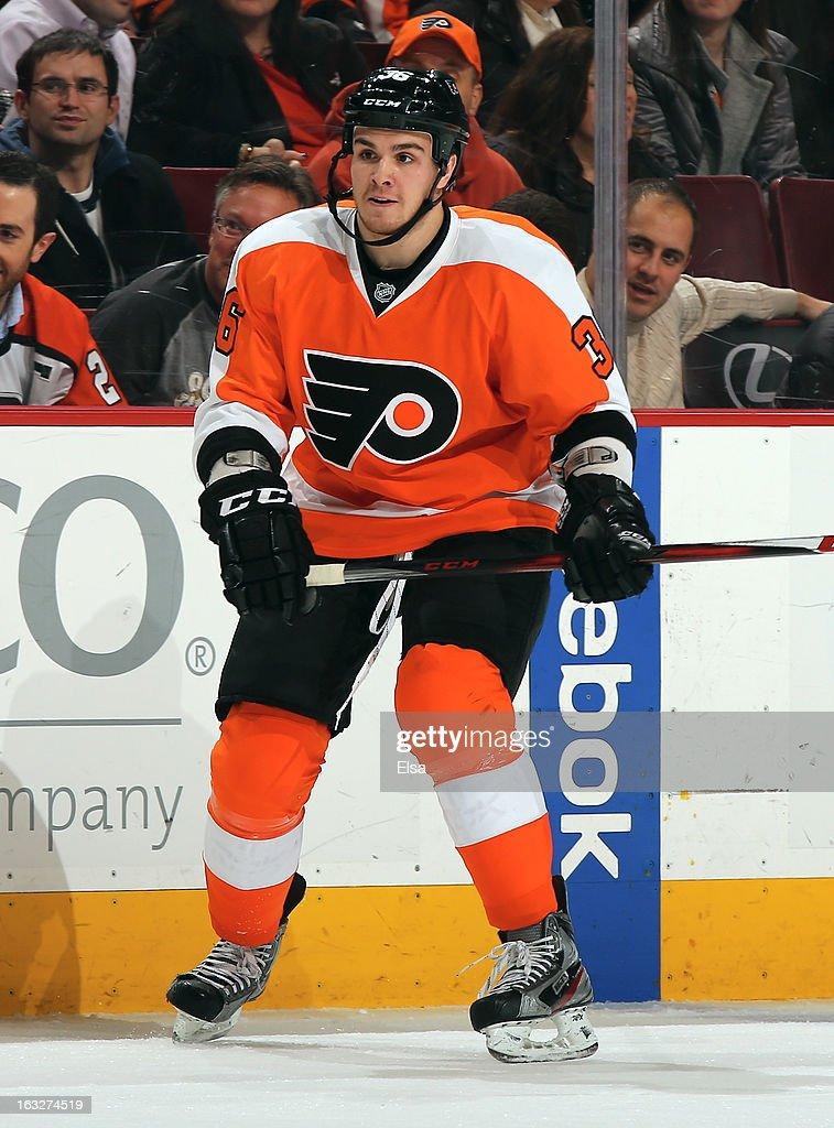 Zac Rinaldo #36 of the Philadelphia Flyers skates against the Tampa Bay Lightning on February 5, 2013 at the Wells Fargo Center in Philadelphia, Pennsylvania.