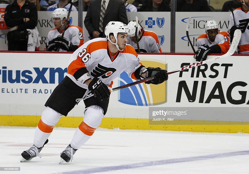 Zac Rinaldo #36 of the Philadelphia Flyers skates during the game against the Pittsburgh Penguins at Consol Energy Center on February 20, 2013 in Pittsburgh, Pennsylvania.
