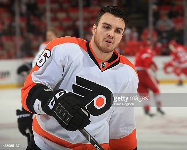 Zac Rinaldo of the Philadelphia Flyers skates in warmups prior to the NHL game against the Detroit Red Wings at Joe Louis Arena on December 4 2013 in...