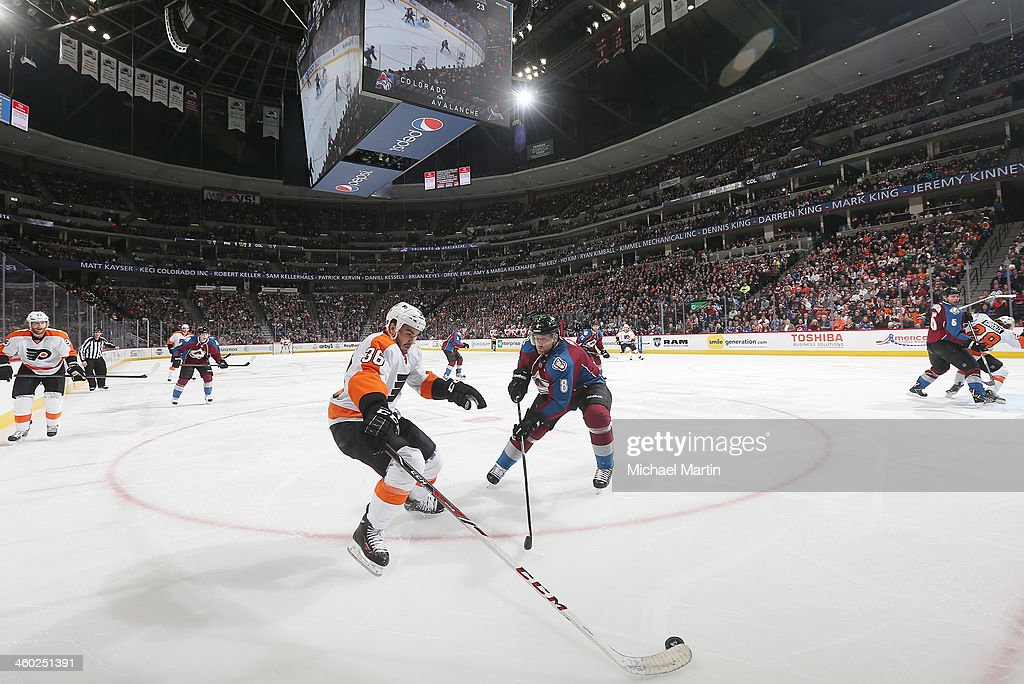 <a gi-track='captionPersonalityLinkClicked' href=/galleries/search?phrase=Zac+Rinaldo&family=editorial&specificpeople=4129574 ng-click='$event.stopPropagation()'>Zac Rinaldo</a> #36 of the Philadelphia Flyers skates with the puck against <a gi-track='captionPersonalityLinkClicked' href=/galleries/search?phrase=Jan+Hejda&family=editorial&specificpeople=624333 ng-click='$event.stopPropagation()'>Jan Hejda</a> #8 of the Colorado Avalanche at the Pepsi Center on January, 2014 in Denver, Colorado. The Avalanche defeated the Flyers 2-1.