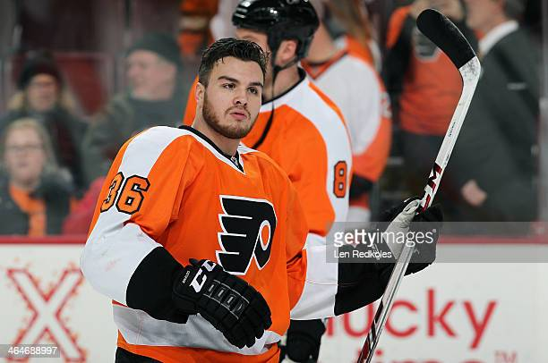Zac Rinaldo of the Philadelphia Flyers warms up prior to his game against the Montreal Canadiens on January 8 2014 at the Wells Fargo Center in...