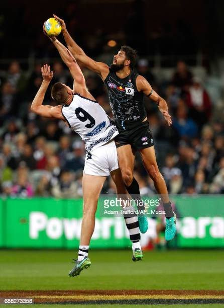 Zac Smith of the Cats and Paddy Ryder of the Power compete in a ruck contest during the 2017 AFL round 10 match between the Geelong Cats and Port...