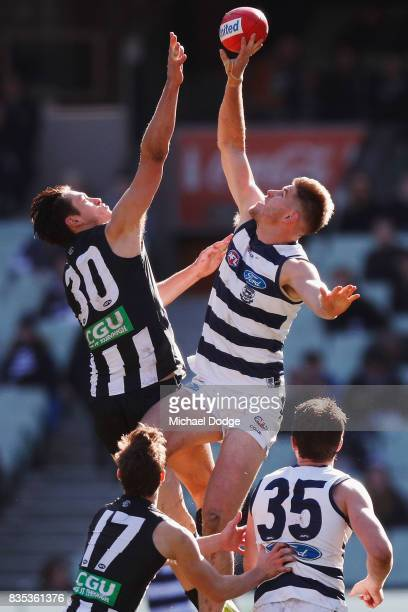 Zac Smith of the Cats rucks over Darcy Moore of the Magpies during the round 22 AFL match between the Collingwood Magpies and the Geelong Cats at...