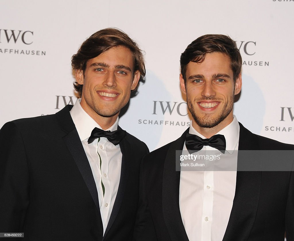 Zac Stenmark (L) and Jordan Stenmark attend the launch of IWC Schaffhausen's pilots watch launch at Sydney Theatre Company on May 5, 2016 in Sydney, Australia.
