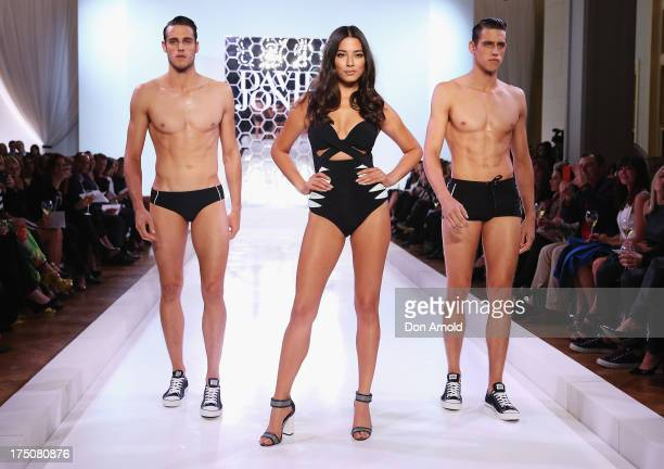 Zac Stenmark Jessica Gomes and Jordan Stenmark showcase designs by Jets at the David Jones Spring/Summer 2013 Collection Launch at David Jones...