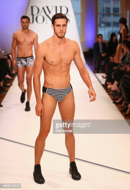 Zac Stenmark showcases designs by Jets during a rehearsal ahead of the David Jones Spring/Summer 2014 Collection Launch at David Jones Elizabeth...