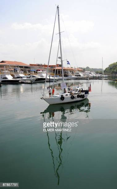 US Zac Sunderland sails his sailboat 'Intrepid' after crossing the Miraflores locks in the Panama Canal on May 19 2009 Sanderland left California on...