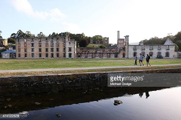 Zac Webster Grant Birchall Taylor Duryea and Dayle Garlett pose at the historic Port Arthur site during the Hawthorn Hawks AFL Community Camp on...
