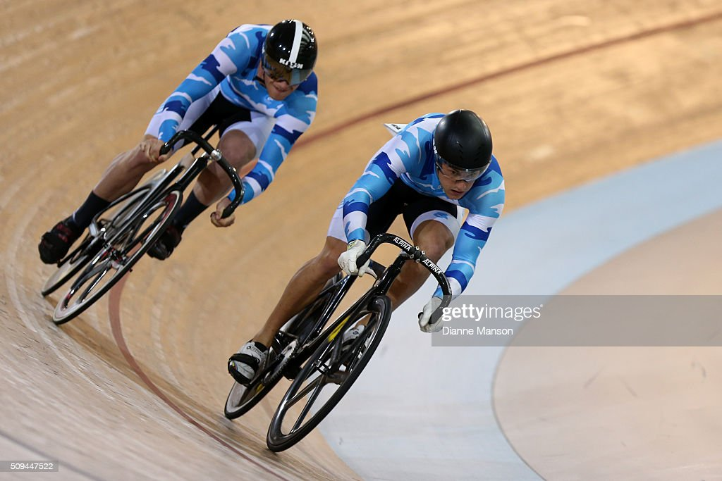 Zac Williams (L) and Sam Webster of Auckland compete in the Elite Men Sprint during the New Zealand Track National Championships on February 11, 2016 in Cambridge, New Zealand.