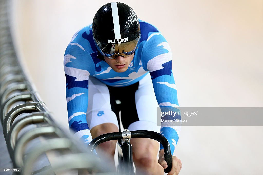 Zac Williams of Auckland competes in the Elite Men Sprint during the New Zealand Track National Championships on February 11, 2016 in Cambridge, New Zealand.