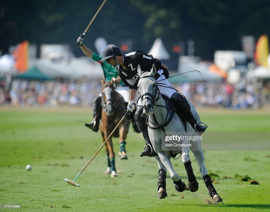 Zacara's Facundo Pieres attacks during the The Veuve Clicquot Gold Cup for the British Open Polo Championship Final between Dubai and Zacara at Cowdray Park Polo Club on July 21, 2013 in Midhurst, England.