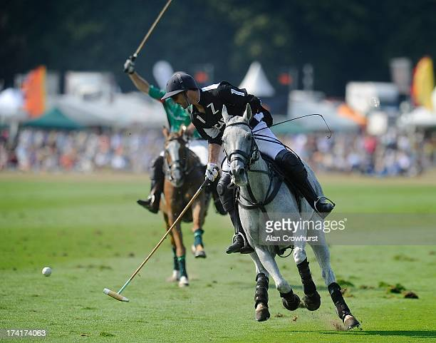 Zacara's Facundo Pieres attacks during the The Veuve Clicquot Gold Cup for the British Open Polo Championship Final between Dubai and Zacara at...