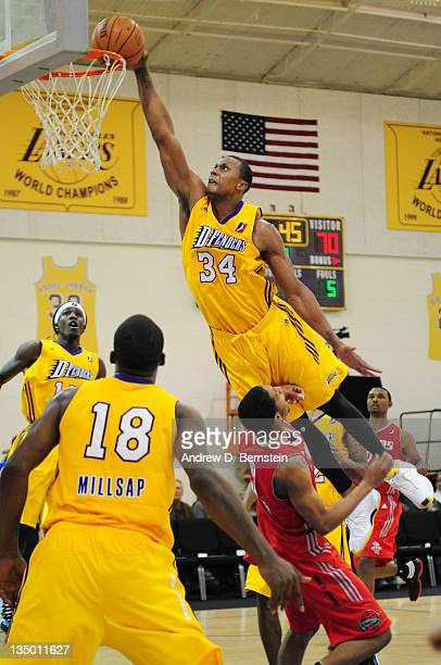 Zach Andrews of the Los Angeles DFenders attempts a dunk during a game against the Rio Grande Valley Vipers at Toyota Sports Center on December 5...