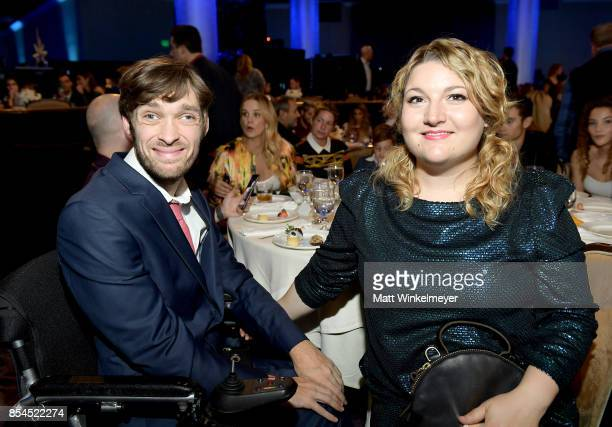 Zach Anner and guest at the 2017 Streamy Awards at The Beverly Hilton Hotel on September 26 2017 in Beverly Hills California
