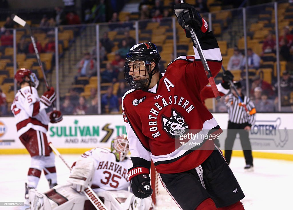 Zach Aston-Reese #12 of Northeastern University reacts after scoring a goal against Harvard University during the second period of the Beanpot Tournament consolation game at TD Garden on February 8, 2016 in Boston, Massachusetts.