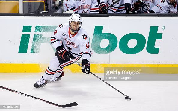 Zach AstonReese of the Northeastern Huskies skates against the Boston University Terriers during NCAA hockey in the championship game of the annual...
