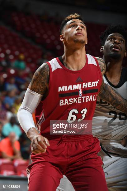 Zach Auguste of the Miami Heat boxes out against the LA Clippers on July 13 2017 at the Thomas Mack Center in Las Vegas Nevada NOTE TO USER User...
