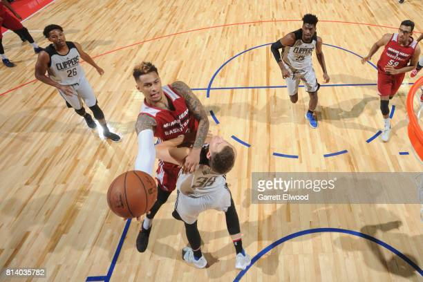 Zach Auguste of the Miami Heat goes to the basket against the LA Clippers on July 13 2017 at the Thomas Mack Center in Las Vegas Nevada NOTE TO USER...