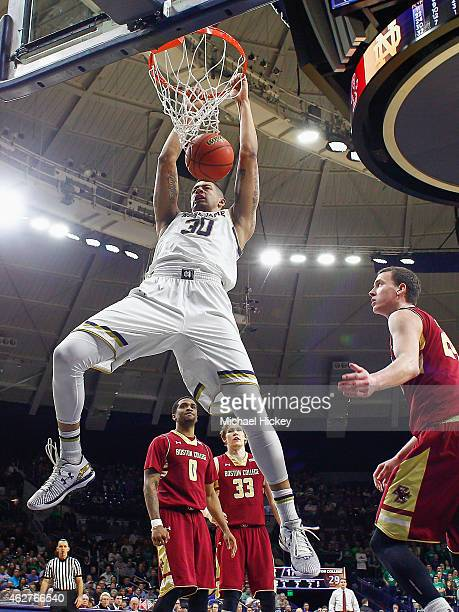 Zach Auguste of the Notre Dame Fighting Irish dunks the ball against the Boston College Eagles at Purcell Pavilion on February 4 2015 in South Bend...