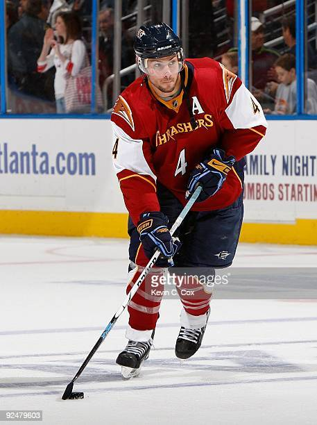 Zach Bogosian of the Atlanta Thrashers against the Washington Capitals at Philips Arena on October 22 2009 in Atlanta Georgia