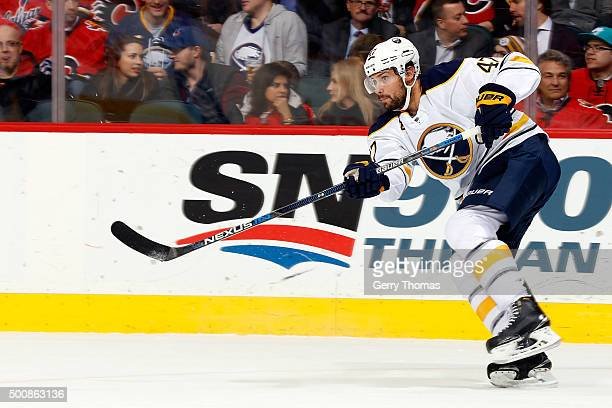 Zach Bogosian of the Buffalo Sabres skates against the Calgary Flames during an NHL game at Scotiabank Saddledome on December 10 2015 in Calgary...