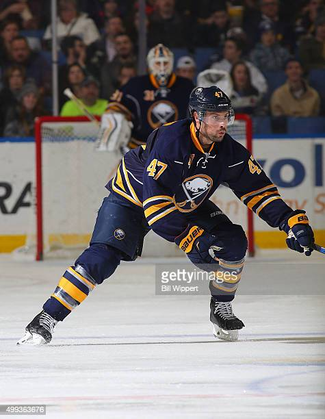 Zach Bogosian of the Buffalo Sabres skates against the Carolina Hurricanes during an NHL game on November 27 2015 at the First Niagara Center in...