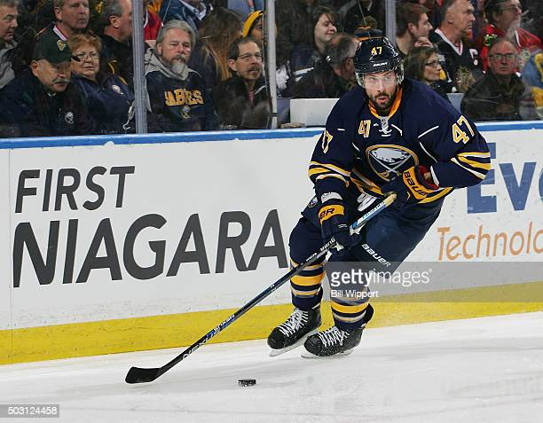 Zach Bogosian of the Buffalo Sabres skates against the Chicago Blackhawks during an NHL game on December 19 2015 at the First Niagara Center in...